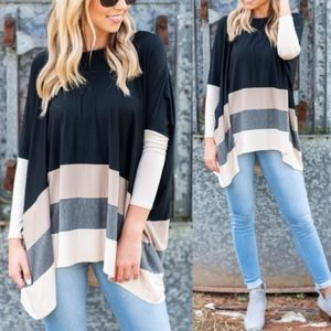 ELIZABETH Colorblock Loose Fit Top - Black mix